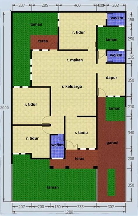 denah rumah luas tanah  meter