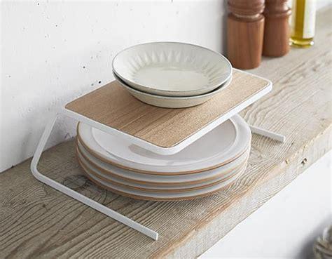 store scandi cupboard plate stacking shelf small