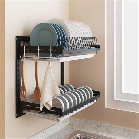 layer stainless steel wall mounted kitchen shelf rack adjustable plate dish storage organizer