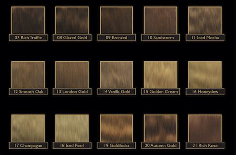Golden Colour Chart by Colour Chart Gold Class Hair