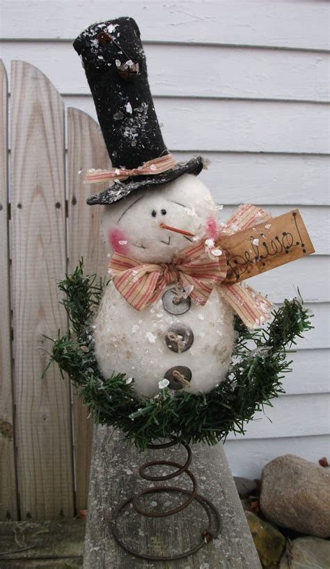 primitive country snowman tree topper 17 best images about bed springs and other make do decor on trees