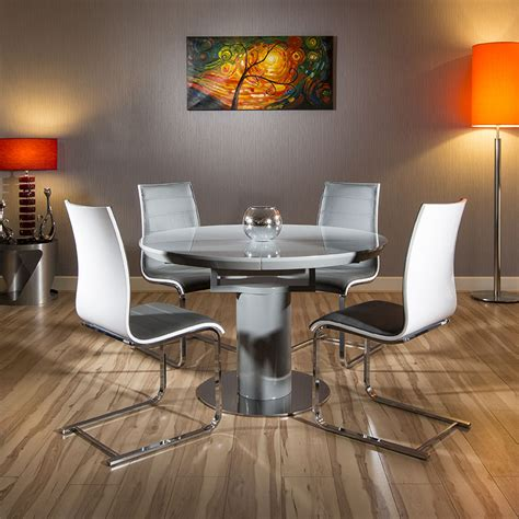 round extending dining table sets round oval extending dining set grey gloss table 4 white