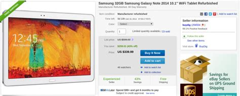 deal alert refurbished 32gb samsung galaxy note 10 1 2014 edition ebay daily deals for 339 99