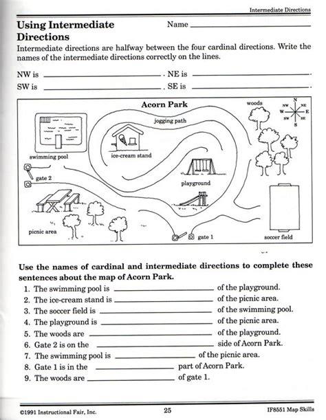 intermediate directions worksheet science