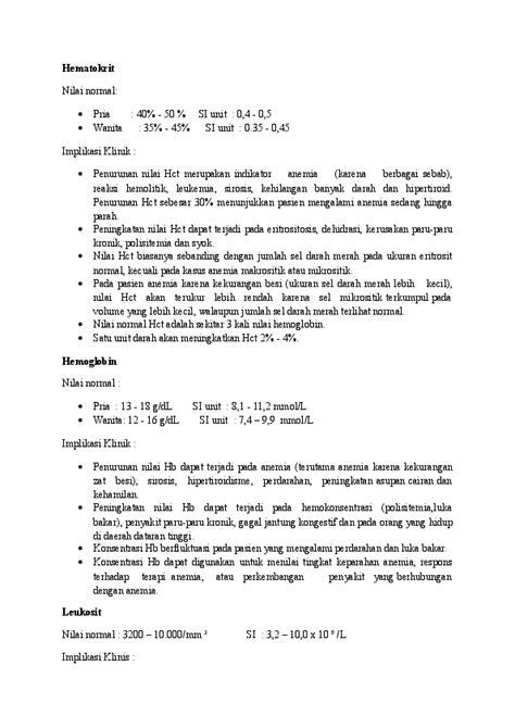Nilai normal ht, hb, dll.   Pety Tunjung Sari - Academia.edu