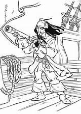 Caribbean Coloring Designlooter Pirates Enemies Spyglass Spy Jack Using His sketch template