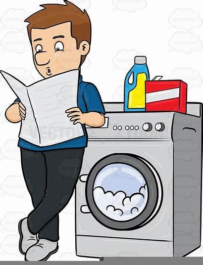 Laundry Clipart Dirty Doing Laundromat Detergent Reading