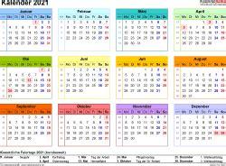 Alle wochen sind im druckbaren leeren juni 2021 kalender sehr deutlich gekennzeichnet. Kalender 2021 zum Ausdrucken in Excel - 17 Vorlagen ...
