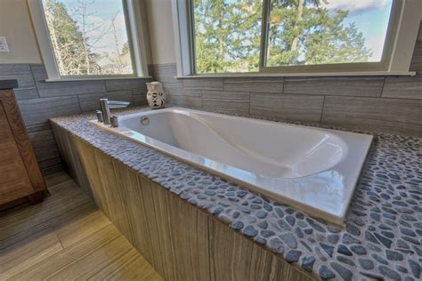 Garden Tub Bathroom by Rock Pebble Surround With Garden Tub Bathroom Designs