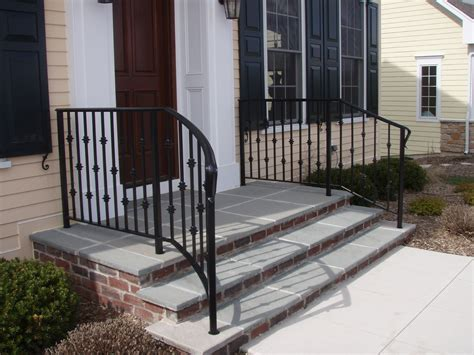 Wrought Iron Handrails Stairs Railings Curving Away From