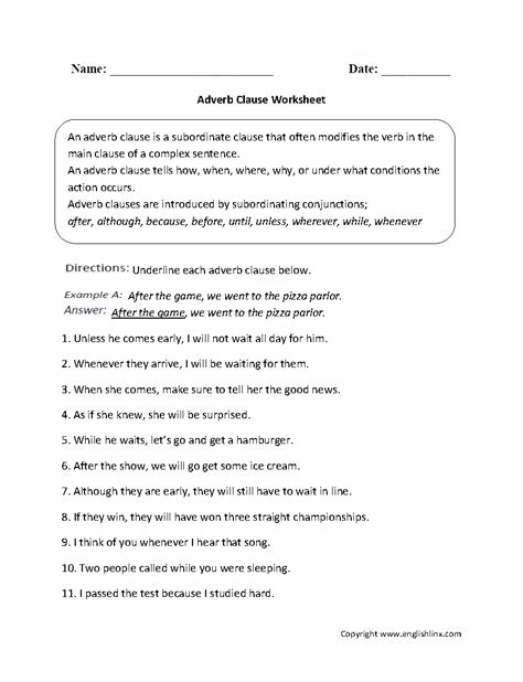 parts of a sentence worksheets clause worksheets
