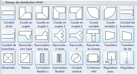 extracteur air cuisine symboles de plan de chauffage ventilation et climatisation