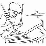 Coloring Drum Drums Playing Boy Cartoon Bongo Acoustic Dhol Template sketch template