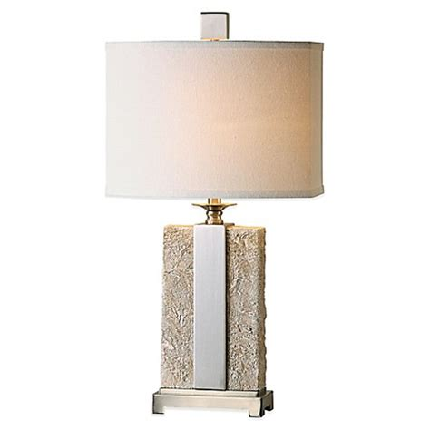Uttermost Bonea Stone Table L In Ivory With Linen Shade