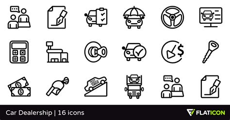 Car Dealership 16 Premium Icons (svg, Eps, Psd, Png Files