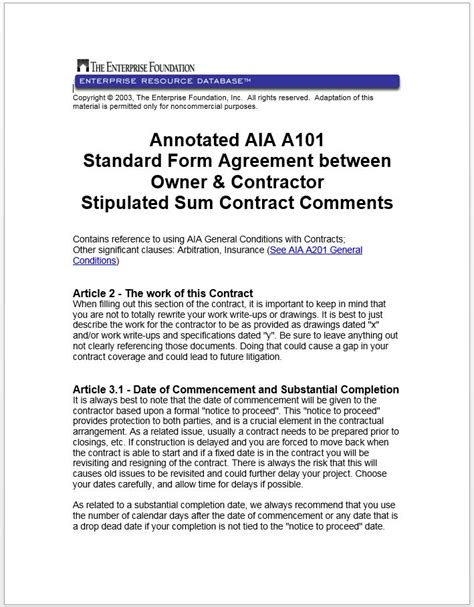 standard form of agreement between owner and contractor annotated aia a101 standard form agreement between owner