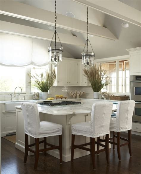 Recessed Light Sloped Ceiling by Slipcovered Bar Stools Cottage Kitchen New England Home