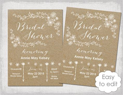 bridal shower invitation template rustic printable
