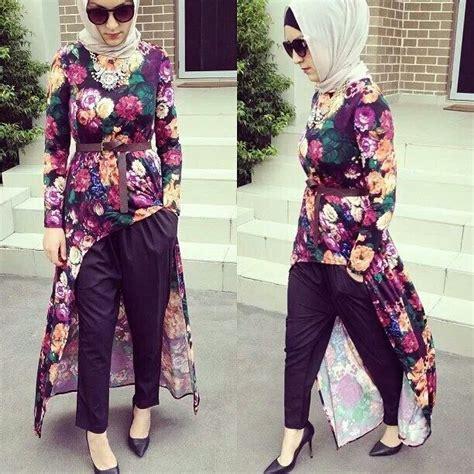 hijab house floral dip hem maxi topdress hijab fashion