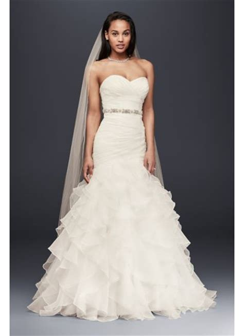 lace fit and flare dress organza mermaid wedding dress with ruffled skirt david 39 s