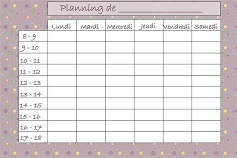 modele planning semaine gratuit avec images planning