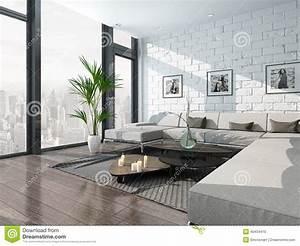 Mur Brique Salon : int rieur de salon avec le divan et le mur de briques ~ Zukunftsfamilie.com Idées de Décoration