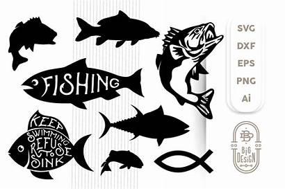 Svg Fish Bass Cut Silhouette Cricut Jesus