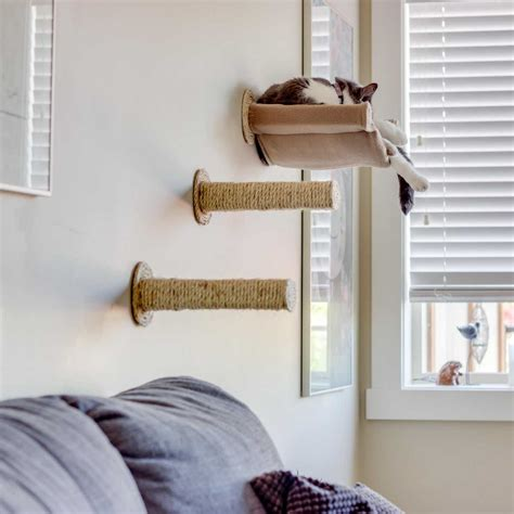 hammock wall mount cat hammock wall mounted cat bed with 2 sisal steps