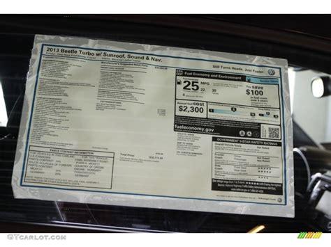 2013 Volkswagen Beetle Turbo Window Sticker Photo