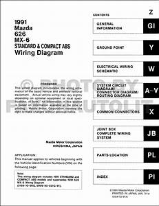 1991 Mazda 626 Mx 6 Standard Compact Abs Wiring Diagram Service Factory