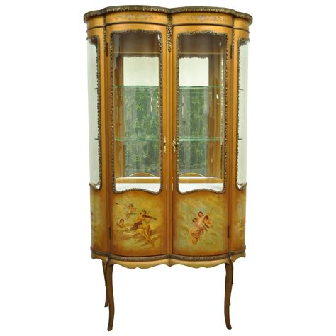 curio cabinets for louis xv style vernis martin curved glass vitrine