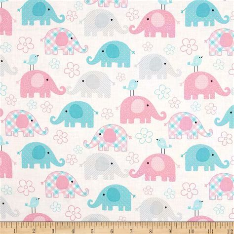 childs play elephant pastel  cotton  fabric