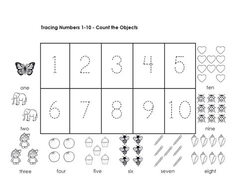 numbers 1 10 worksheets kindergarten worksheet mogenk paper works