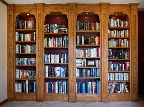 Custom Built In Oak Bookshelves by Lone Star Artisans