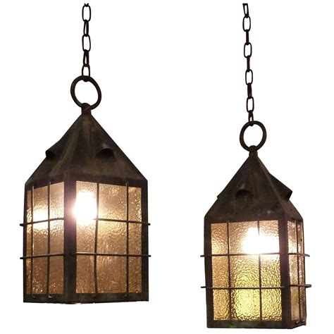 1920s pair of arts and crafts copper lantern pendant