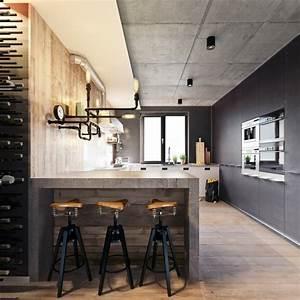 1001 variantes de la deco industrielle avec plusieurs With deco cuisine avec chaise grise et bois