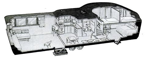 2 Bedroom Mobile Home Floor Plans by Two Story Trailer Cutway 1952 Invisible Themepark