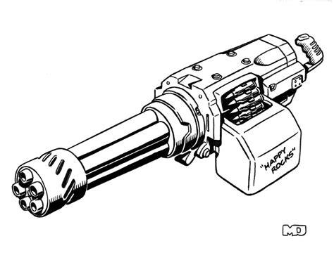 disegni da colorare nerf minigun gun drawings sketch coloring page