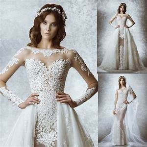 2015 new see through lace sexy mermaid detachable skirt With detachable skirt wedding dress