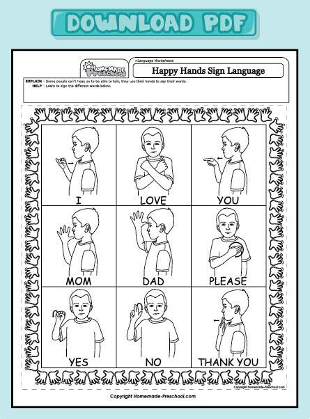 and interactive preschool worksheets 786 | worksheet language sign language pdf