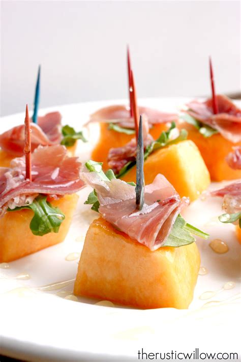 melon prosciutto arugula honey bites