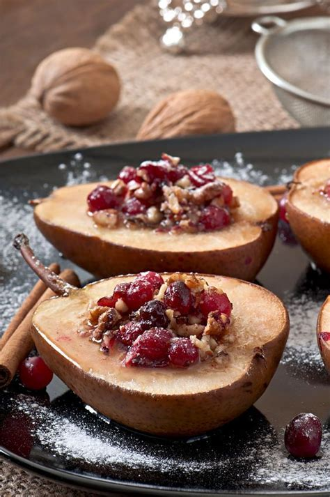 low sugar vegan desserts baked cardamom pears with cranberries and raisins recipe cranberries pears and desserts