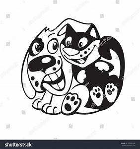 Cartoon Dog Cat Friendshipblack White Vector Stock Vector ...