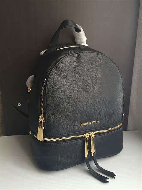 michael kors rhea extra small leather backpack black