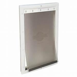shop petsafe aluminum large white aluminum pet door With metal dog door flaps