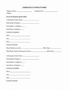 employee emergency contact printable form pictures to pin With emergency contact form template for child
