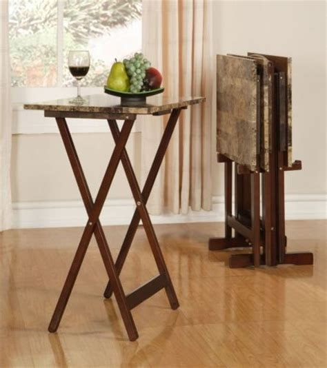 folding wood tv dinner serving tray table storage stand