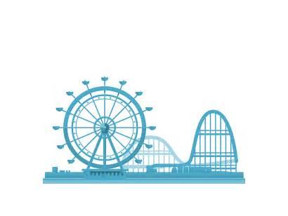 Ferris Wheel Animation Amusement Coaster Roller Flat