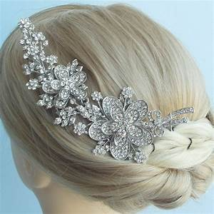 Elegant Clear Rhinestone Crystal Bridal Flower Hair Comb