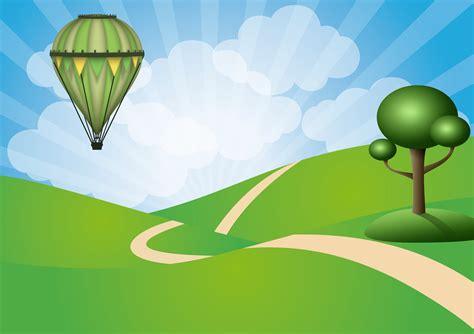 gambar pohon balon udara angin terbang hijau